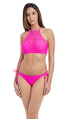 Sundance Hot Pink UW Padded Hi-Neck Crop Top