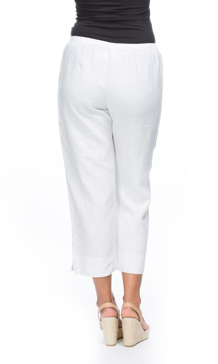 Linen Pants Cropped Pull On, More Colours