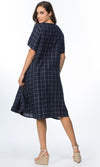 Linen Dress Side Gathered Check