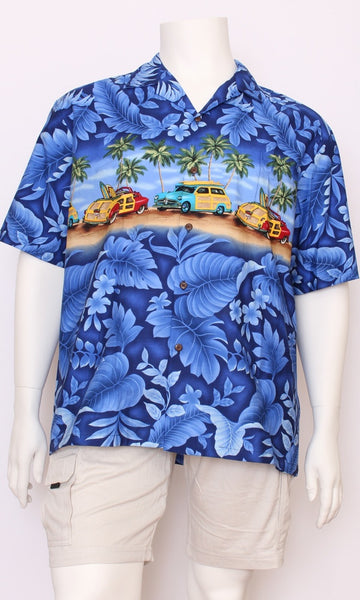 Hawaiian Shirt Genuine, Blue Cars, Sizes S - 4XL