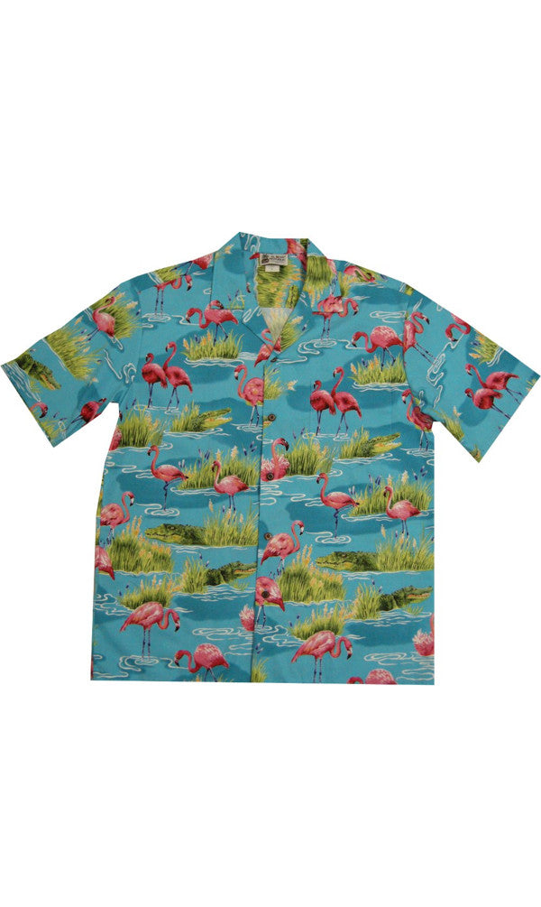 Hawaiian Shirt Genuine New Flamingo Blue