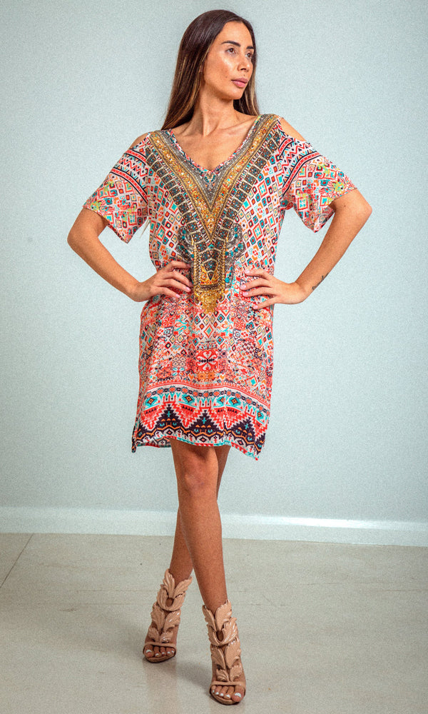 Silk Dress V Neck Cold Shoulder Aleppo
