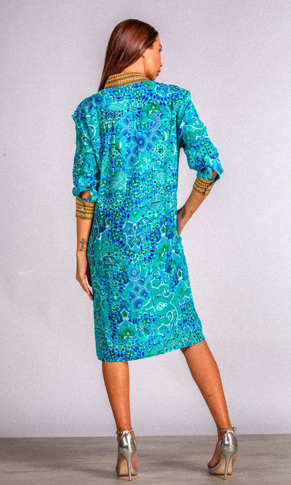 Silk Shirt Dress Atlantis