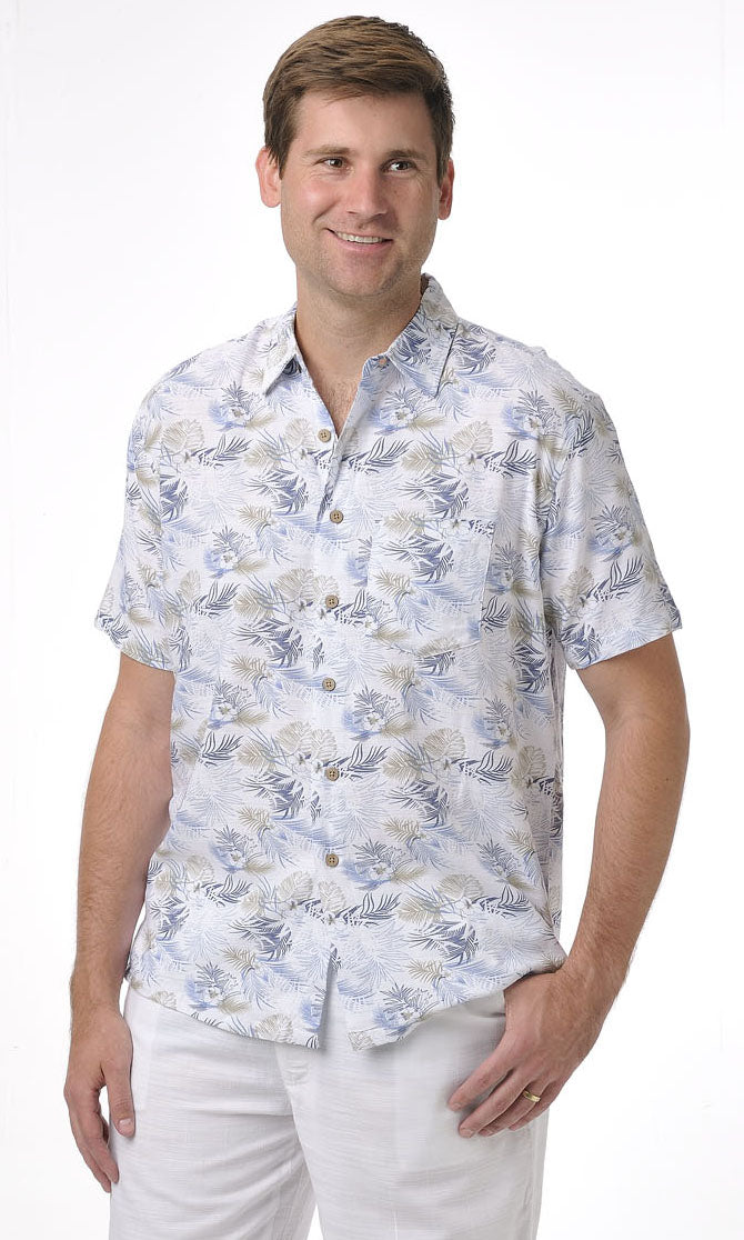 Bamboo Men's Shirt Blue Palm