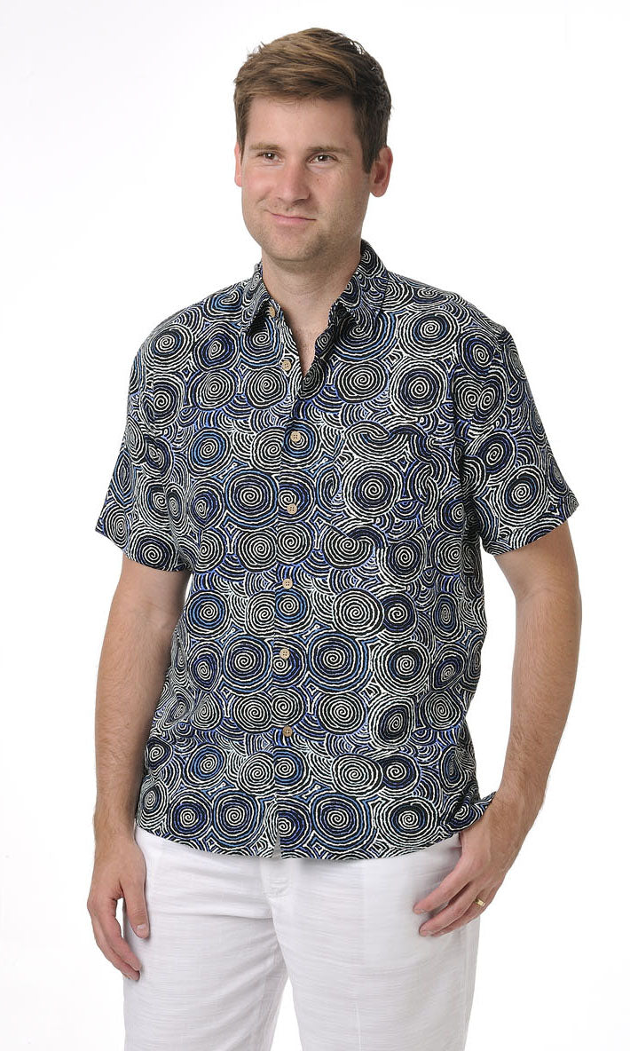 Bamboo Men's Shirt Aboriginal Art Mina Mina Dreaming