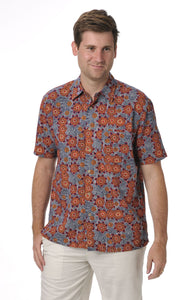 Bamboo Men's Shirt Aboriginal Art Bush Tomato