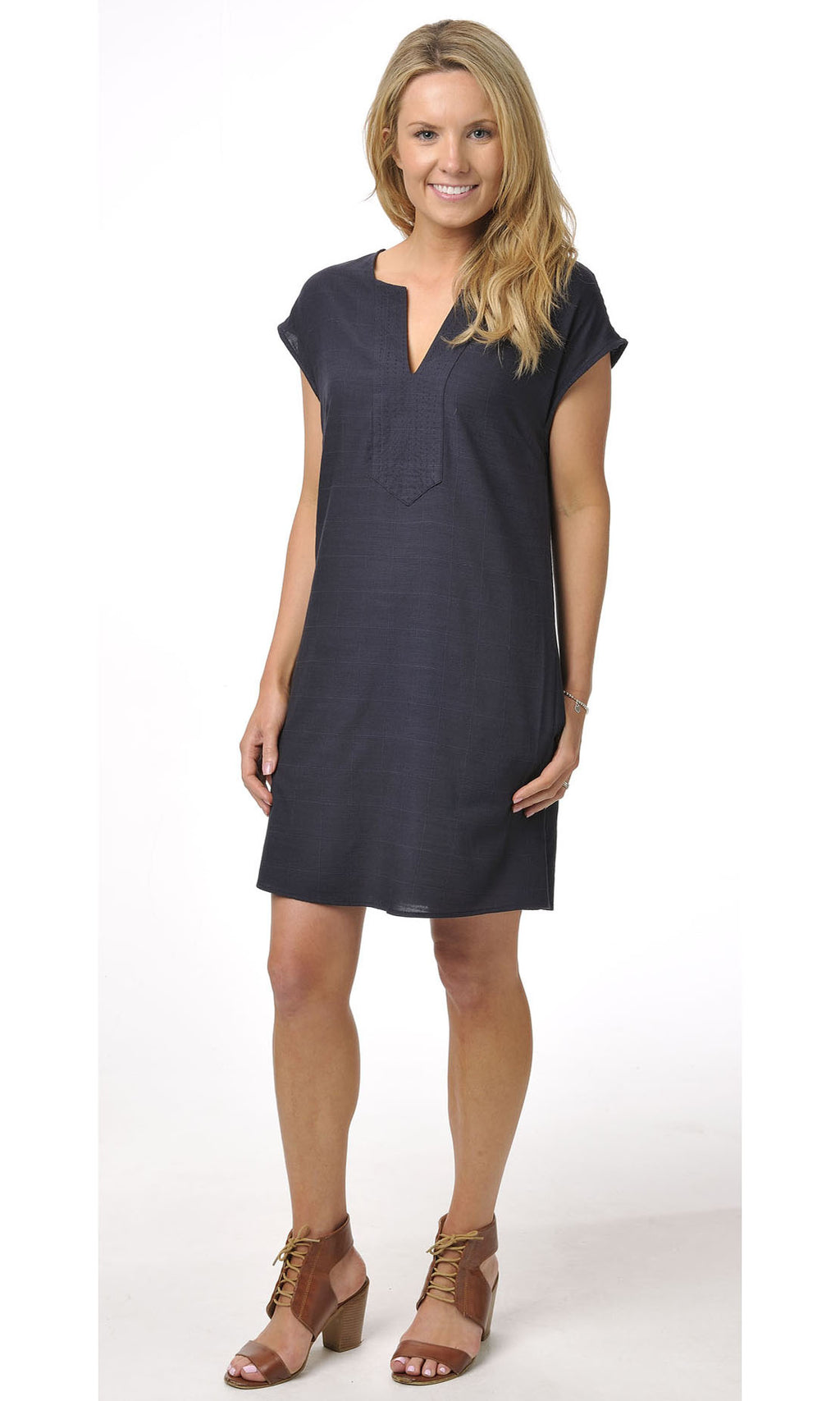 Bamboo Dress Plain Colour Navy