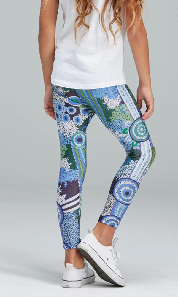 Aboriginal Art Kids Leggings Coastal Dreaming