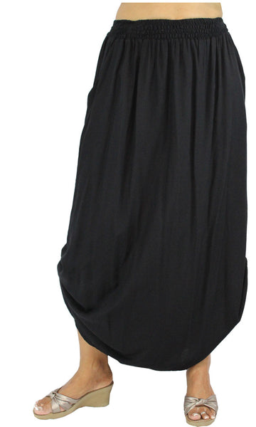 Rayon Rouched Skirt Black, Sizes 10 - 16