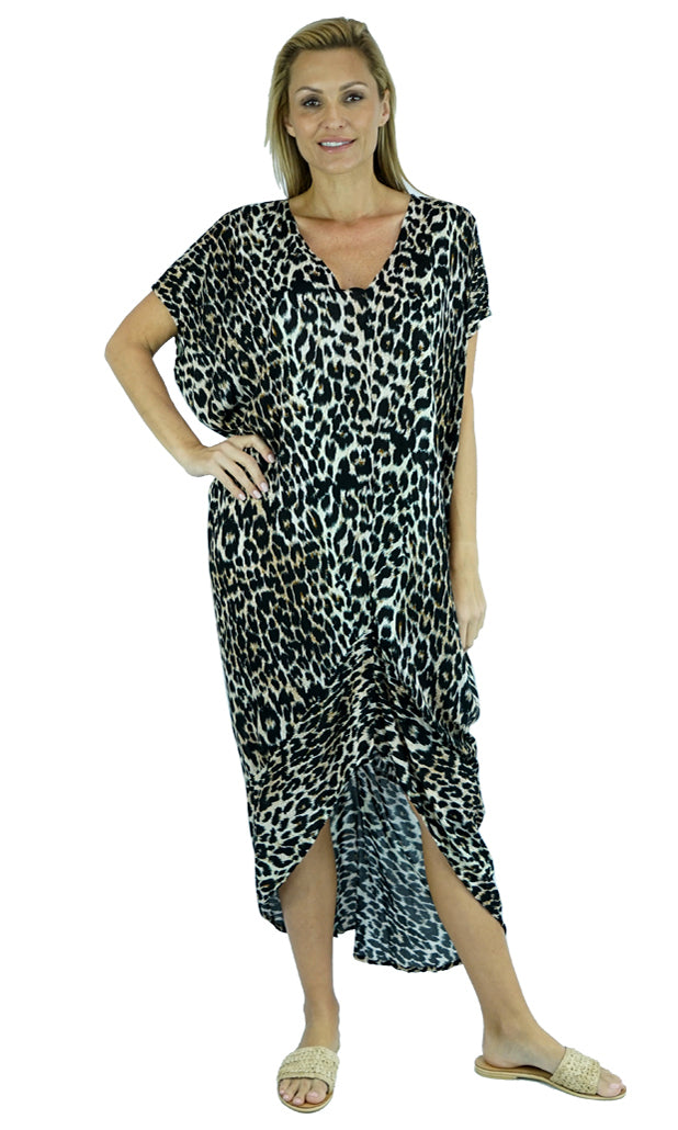 Rayon Kaftan Long Frilled Toga Leopard, More Colours
