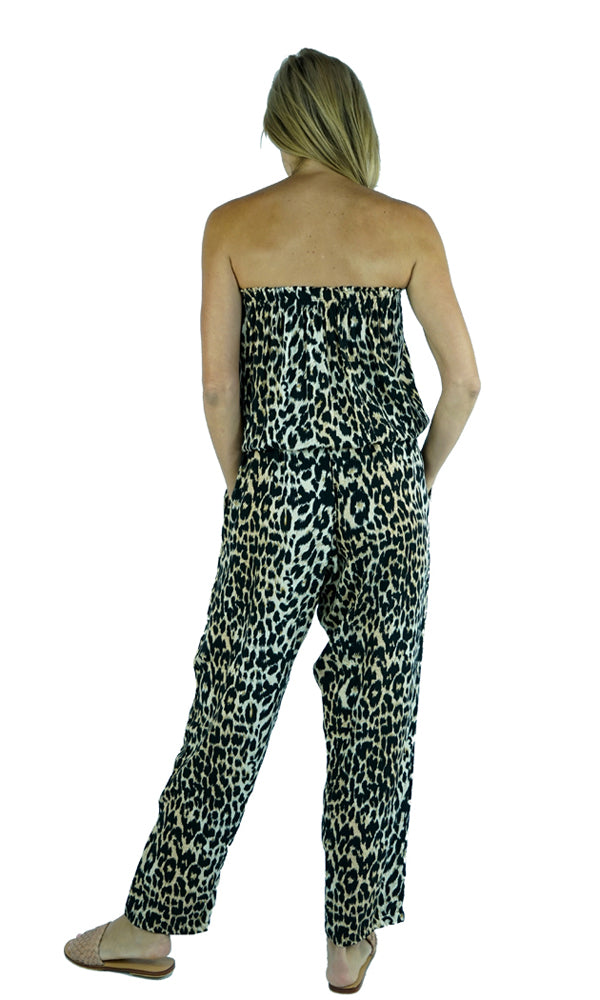 Rayon Jumpsuit Long Bandeau Leopard, More Colours