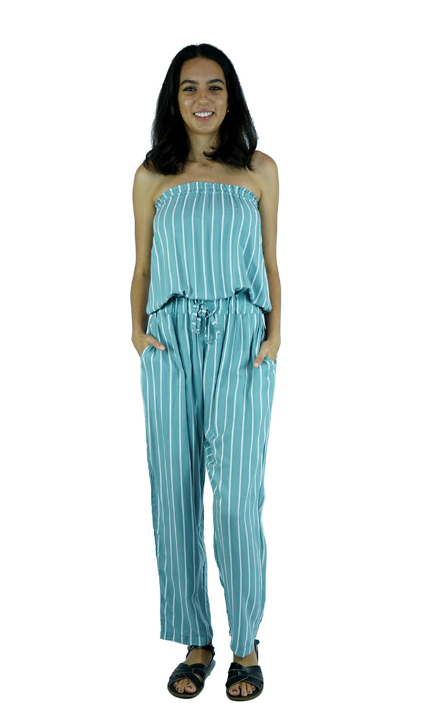 Rayon Jumpsuit Long Bandeau New Stripes, More Colours