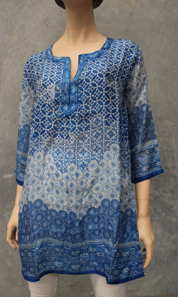 Silk Kurta Kaftan Ikebana, Sizes 8 - 16