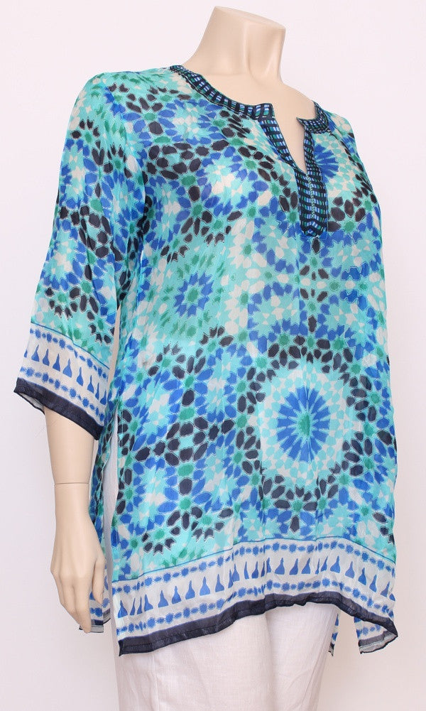 Silk Kurta Kaftan Mosiac, More Colours, Sizes 8 - 16