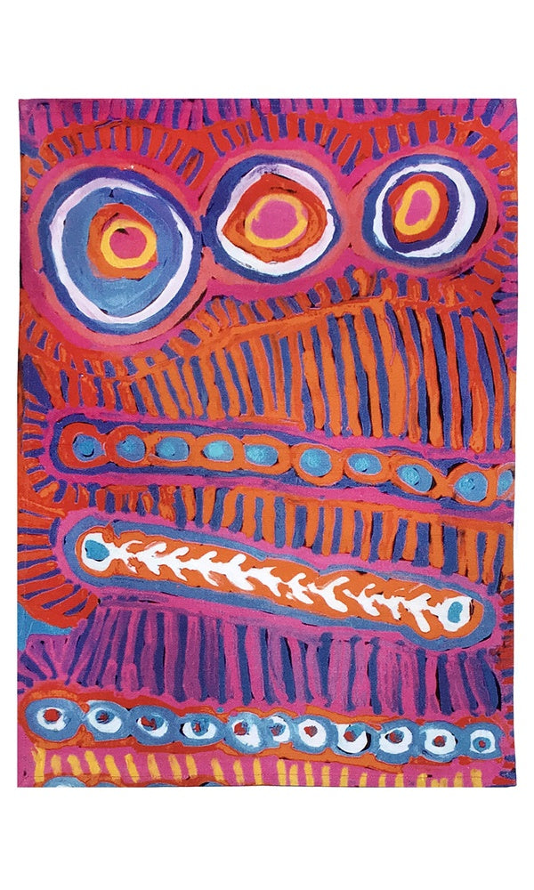Aboriginal Art Cotton Tea Towel by Murdie Nampijinpa Morris