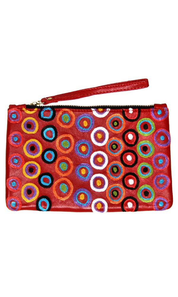 Aboriginal Art Embroidered Leather Clutch with Wrist Strap by Daisybell Kulyuru