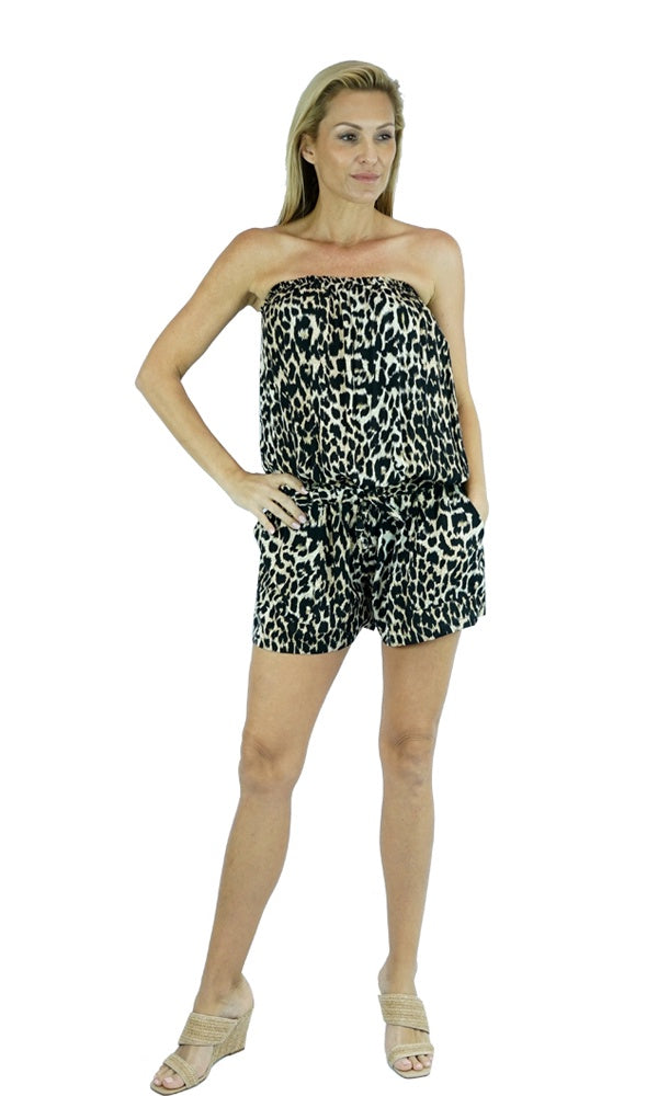 Rayon Jumpsuit Short Leopard, More Colours