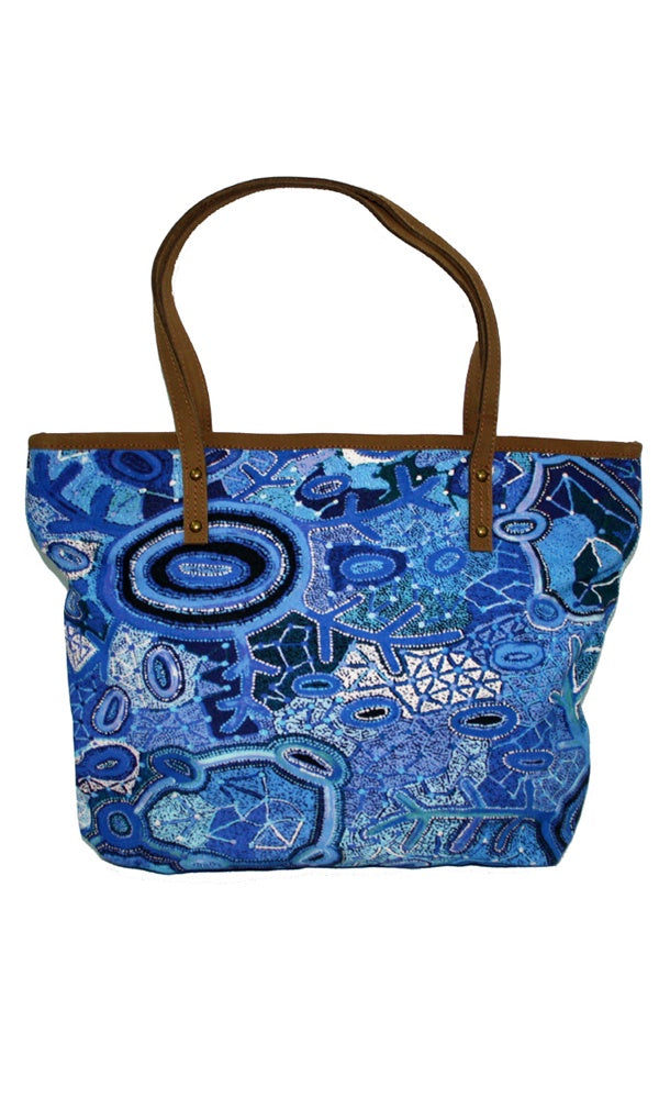 Aboriginal Art Tote Bag Leather Trimmed by Theo Hudson