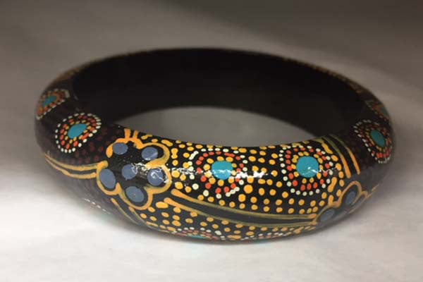 Aboriginal Art Bangle Thin by Marie Young