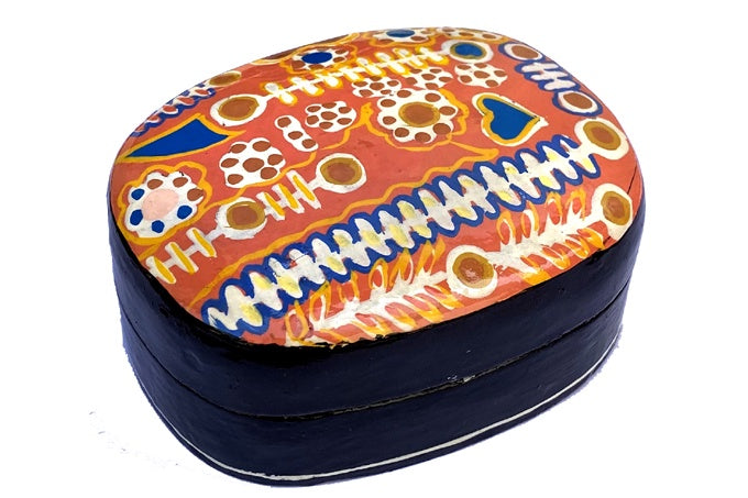 Aboriginal Art Medium Lacquer Box by Murdie Nampijinpa Morris (2)