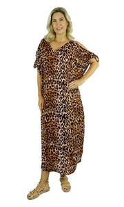 Rayon Kaftan Long Mykonos  Leopard, More Colours