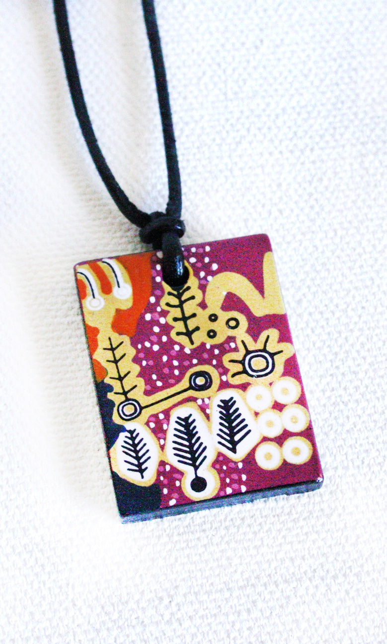 Aboriginal Art Ceramic Pendant by Paddy Stewart