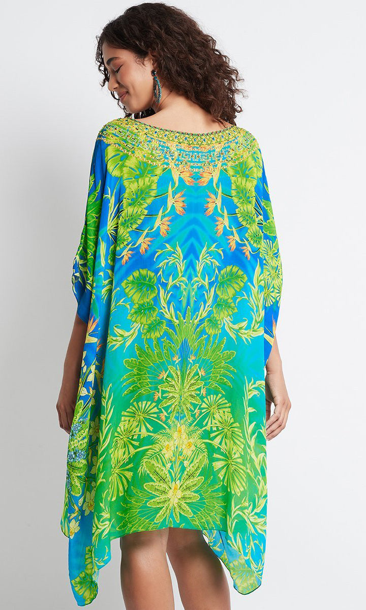 Silk Short Kaftan Round-Neck Between The Raindrops