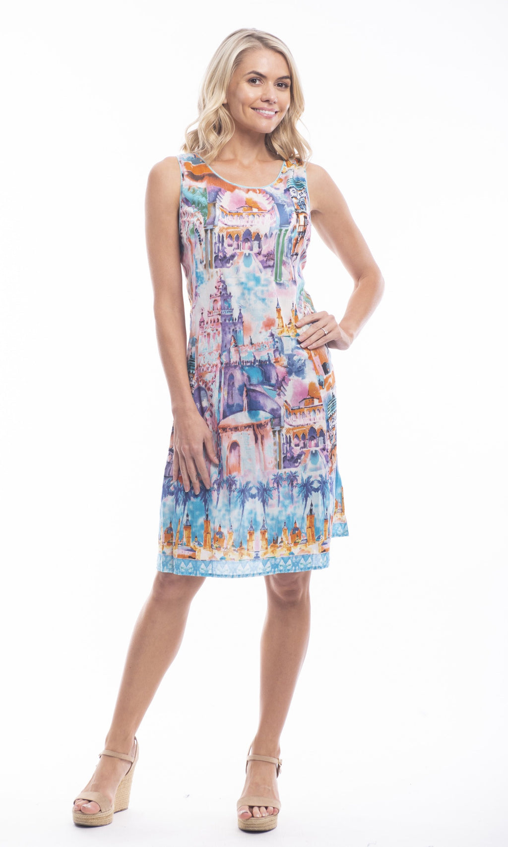 Cotton Dress Shift Reversible Torre Del Oro