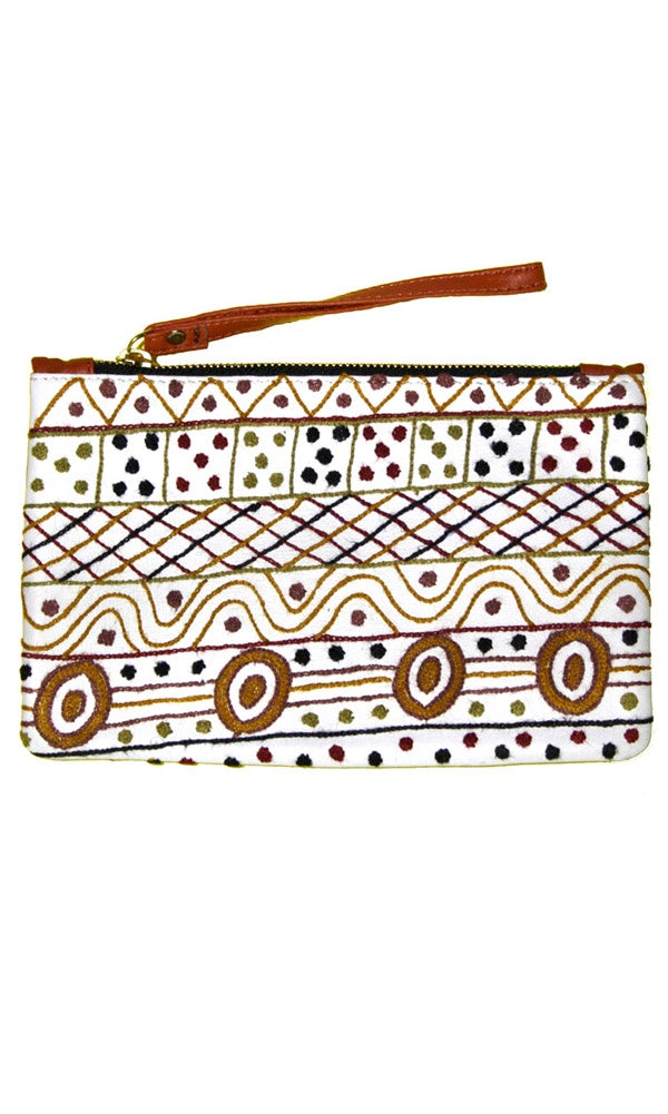 Aboriginal Art Embroidered Leather Clutch with Wrist Strap by Josette Papua