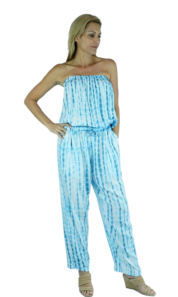 Rayon Jumpsuit Long Bandeau Waterglass, More Colours