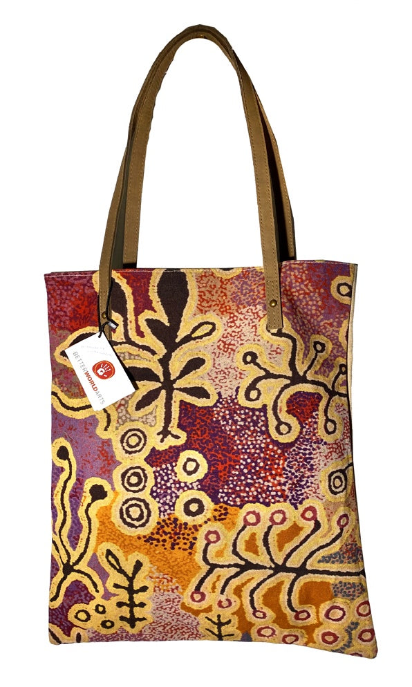 Aboriginal Art Shoulder Tote Bag Leather Trimmed by Paddy Stewart