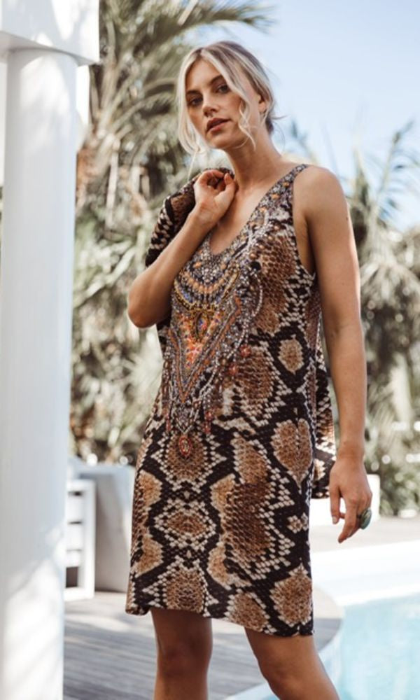 Silk Dress V Neck Short Wild Desert