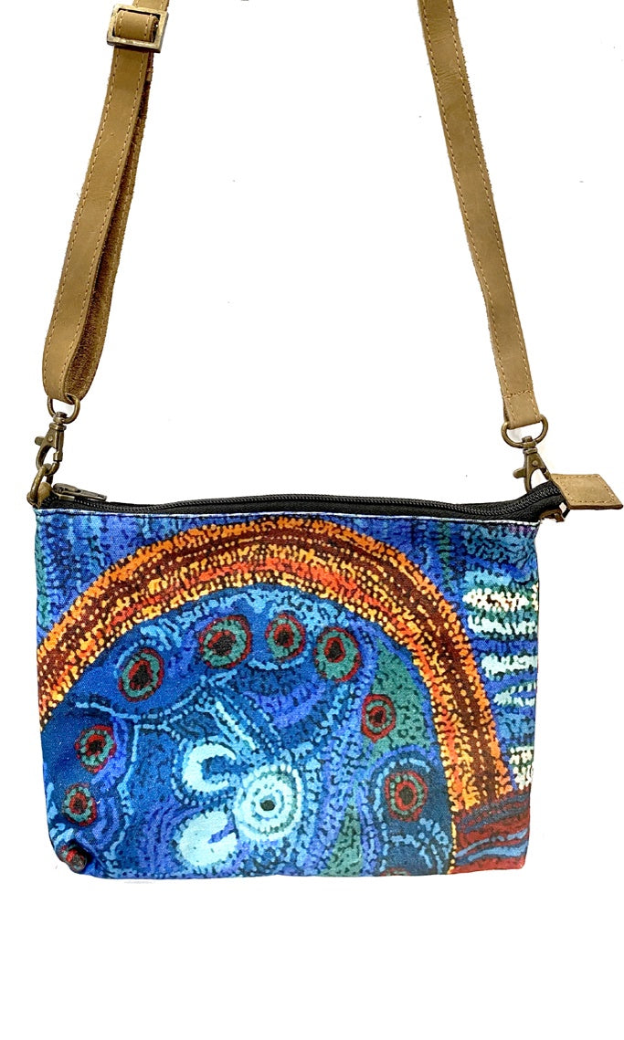Aboriginal Art Cross Body Bag Leather Trimmed by Julie Woods