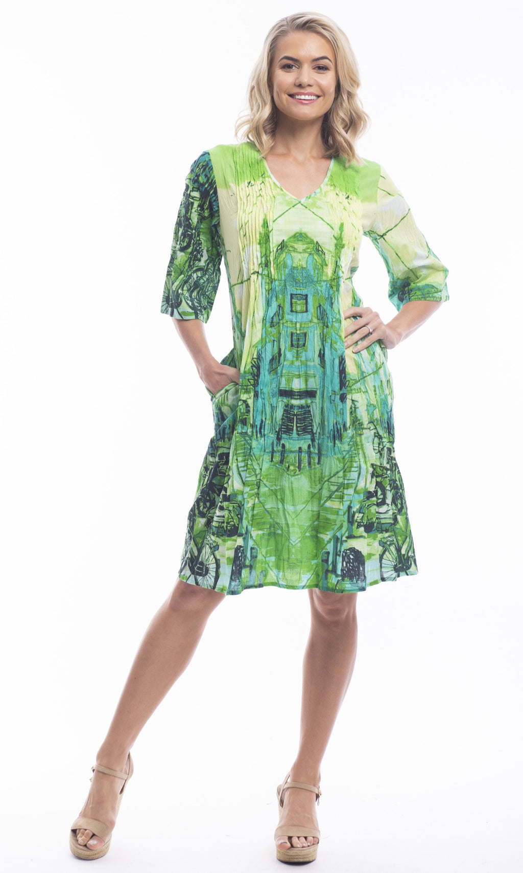 Cotton Dress V-Neck Crinkle Pleated Elbow St Green