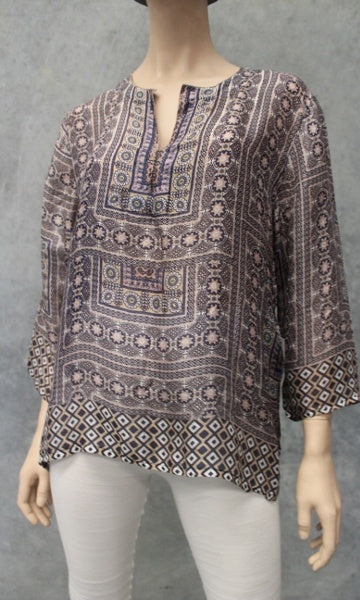 Silk Kurta Kaftan Short, Denim Beige, Sizes 8 - 16