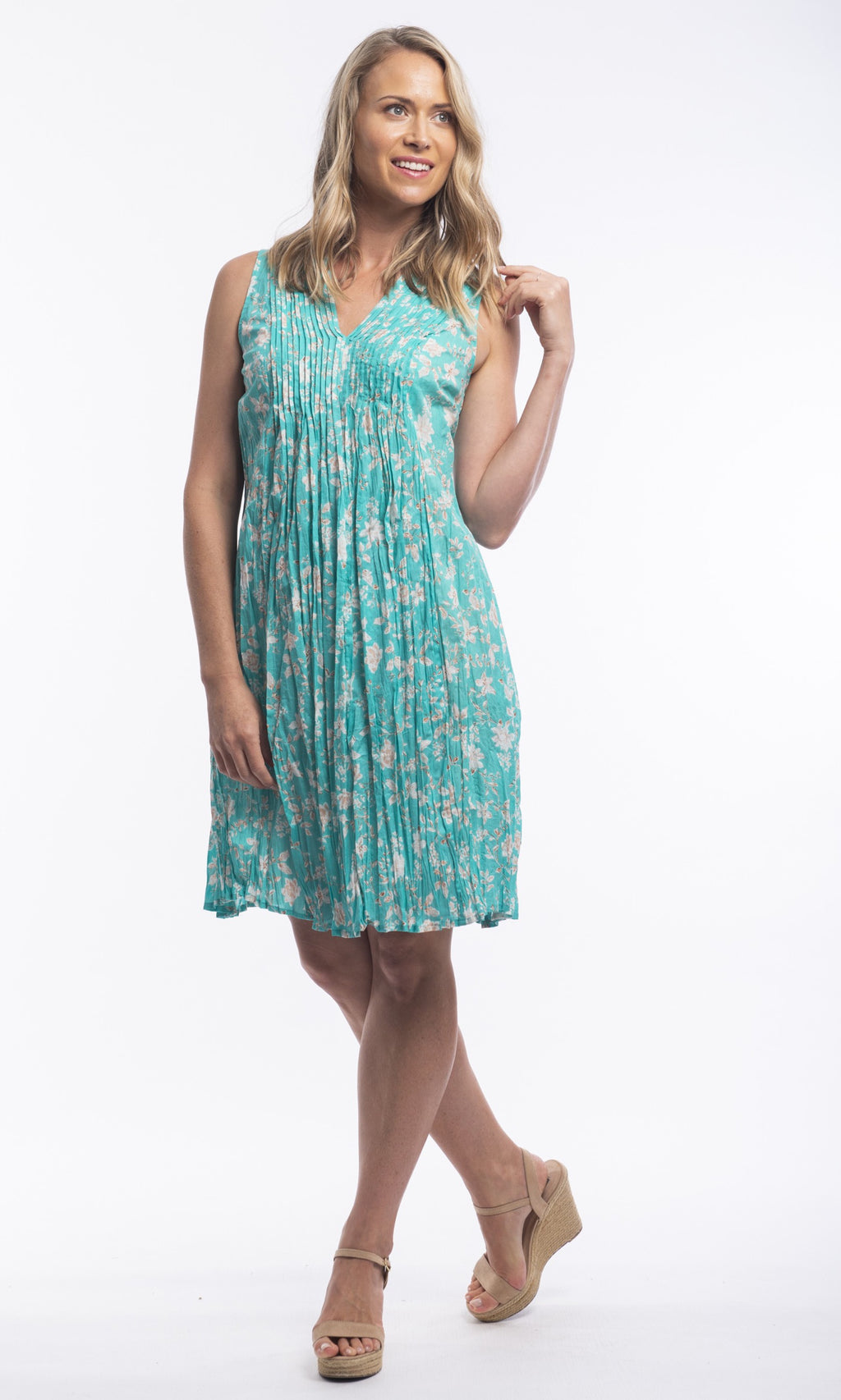 Cotton Dress Easyfit V-Neck Pleated Madeira