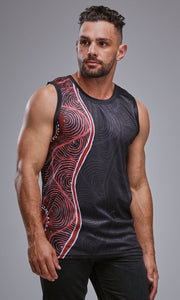 Aboriginal Art Singlet Voice of Land