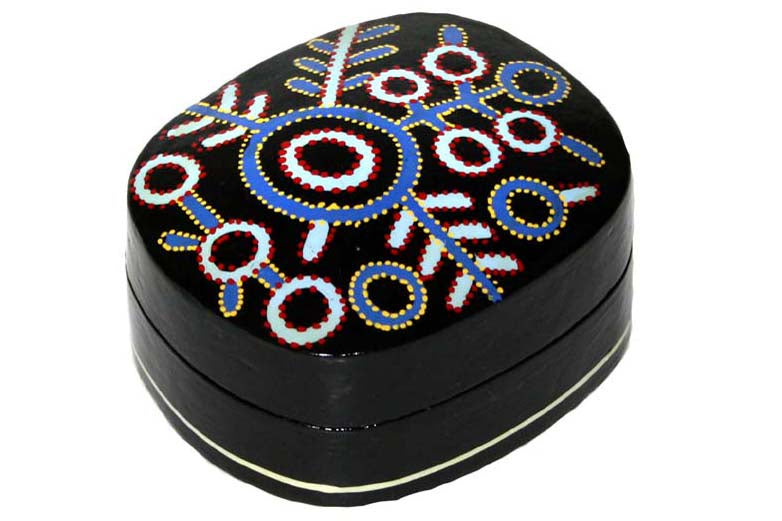 Aboriginal Art Small Lacquer Box by Theo Hudson