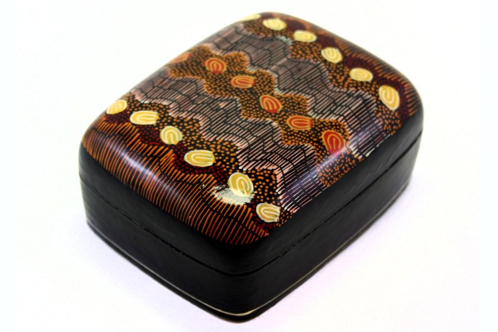 Aboriginal Art Large Lacquer Box by Damien & Yilpi Marks