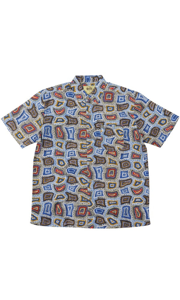 Bamboo Men's Shirt Aboriginal Art Ngapa Dreaming
