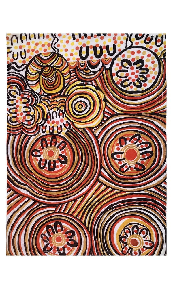Aboriginal Art Cotton Tea Towel by Jeanie A Uluru
