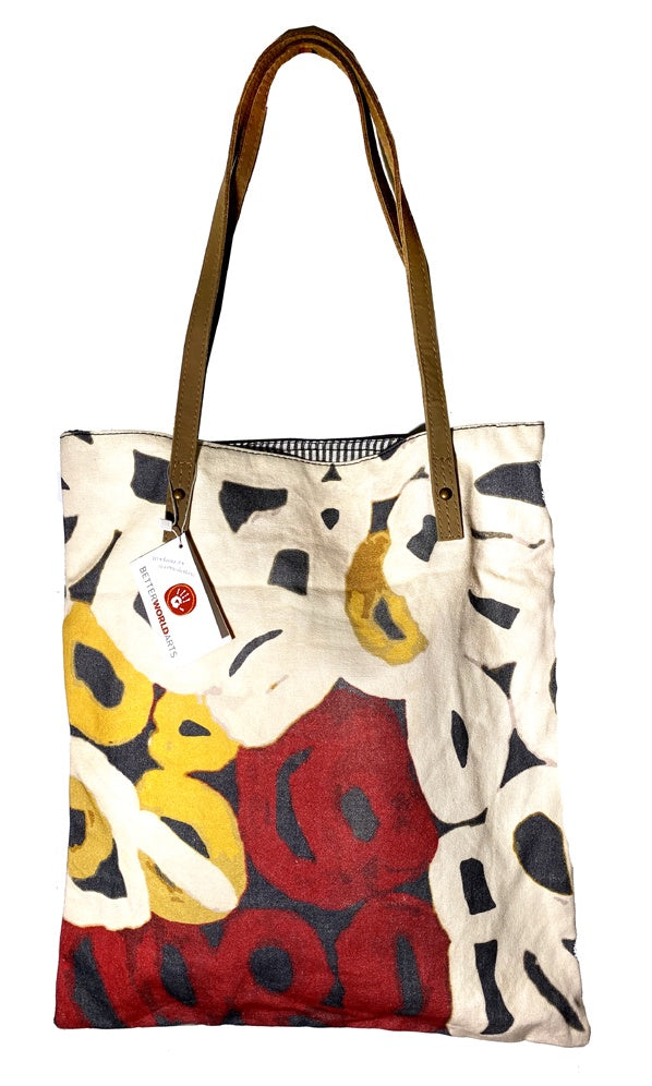 Aboriginal Art Shoulder Tote Bag Leather Trimmed by Anmanari Brown