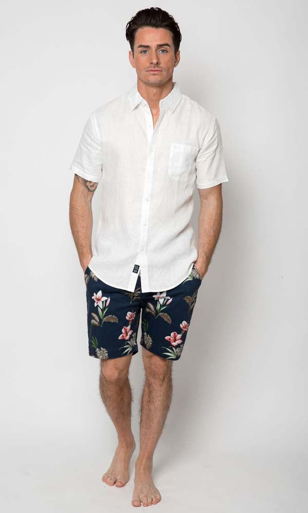 Linen Shirt Short Sleeve White