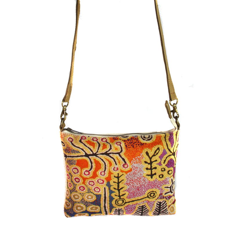 Aboriginal Art Cross Body Bag Leather Trimmed by  Paddy Stewart