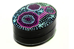 Aboriginal Art Small Lacquer Pill Box by Pauline Nampijinpa Singleton