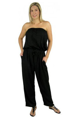 Rayon Jumpsuit Bandeau Long Plain