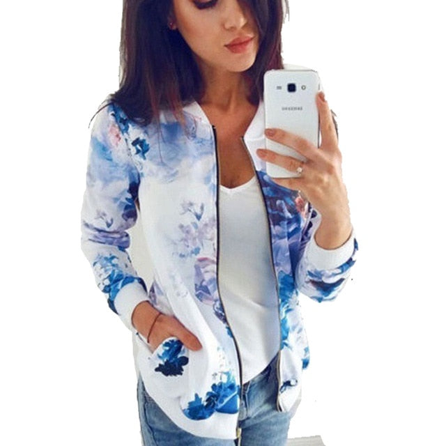 ZIPPER FLORAL JACKET