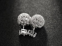 Load image into Gallery viewer, Oversized Cubic Zirconia Hollow Flower Disco Ball Earrings