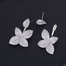 Load image into Gallery viewer, 32mm Super Shiny Leaf Flower Paved Zirconia Earrings