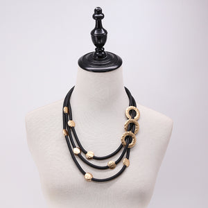 Layered Leather Chunky Statement Necklace